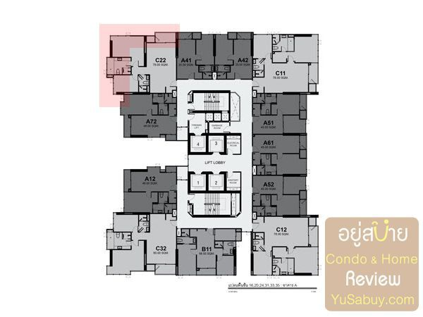 Typical Floor Plan Rhythm Sukhumvit42 ชั้น 16, 20, 24, 31, 33, 35