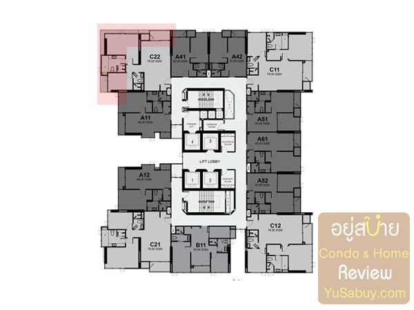 Typical Floor Plan Rhythm Sukhumvit42 ชั้น 14, 19, 25, 28, 30