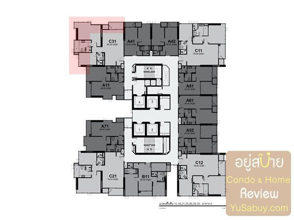 Typical Floor Plan Rhythm Sukhumvit42 ชั้น 15, 18, 21, 23, 26, 29, 34