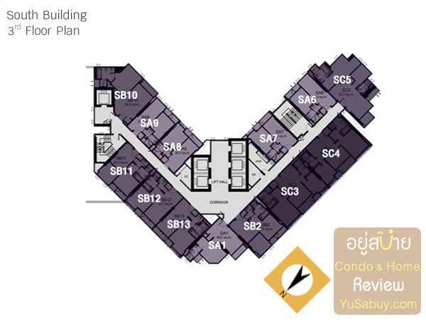 Floor Plan South Tower ชั้น 3 คอนโด RHYTHM The Slow Collection