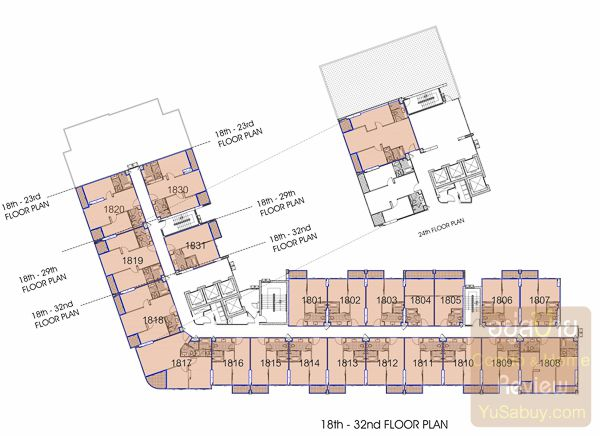 Floor Plan คอนโด Knightsbridge The Ocean Sriracha ชั้น 18-32