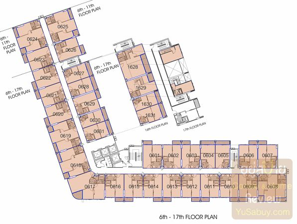 Floor Plan คอนโด Knightsbridge The Ocean Sriracha ชั้น 6-17