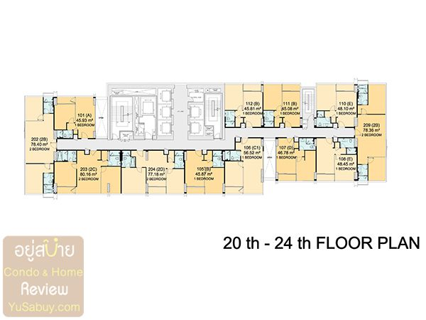 Floor Plan ชั้น 20-24 คอนโด Circle 2 Living Prototype