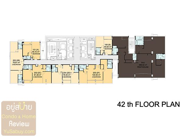 Floor Plan ชั้น 42 คอนโด Circle 2 Living Prototype