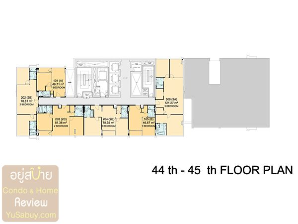 Floor Plan ชั้น 44-45 คอนโด Circle 2 Living Prototype