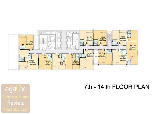 Floor Plan ชั้น 7-14 คอนโด Circle 2 Living Prototype