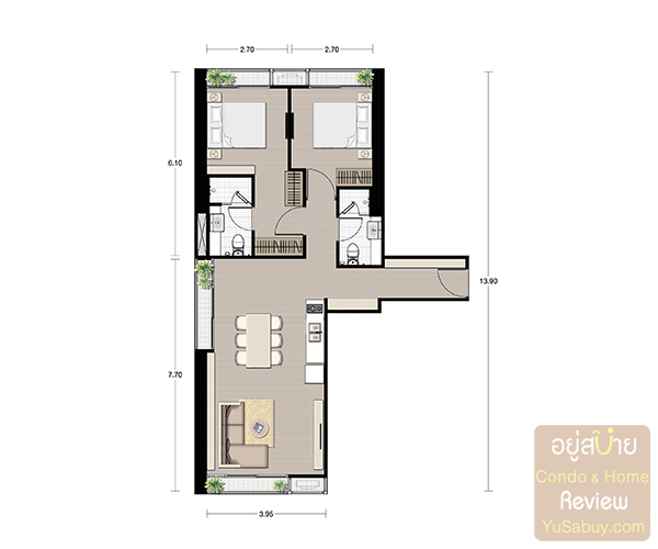 Noble BE19_2 bedroom 73.16 Sqm