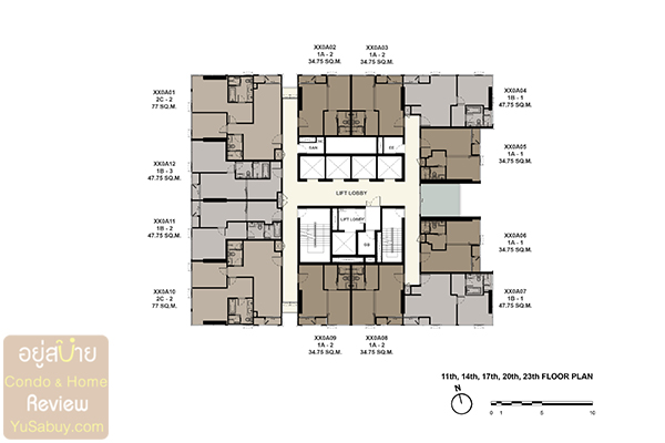 Floor Plan The Esse at Singha Complex ชั้น 11