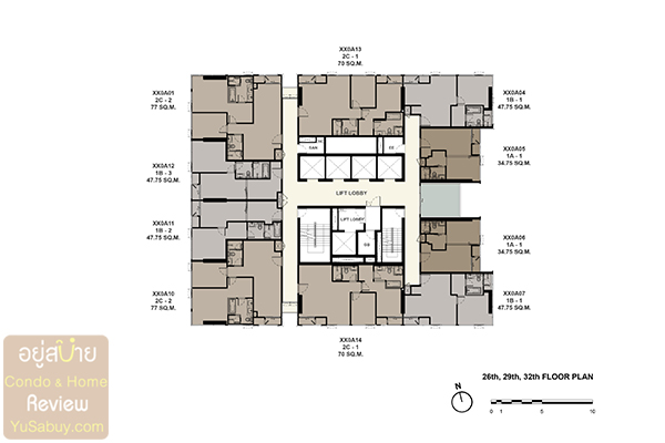 Floor Plan The Esse at Singha Complex ชั้น 26 29 32