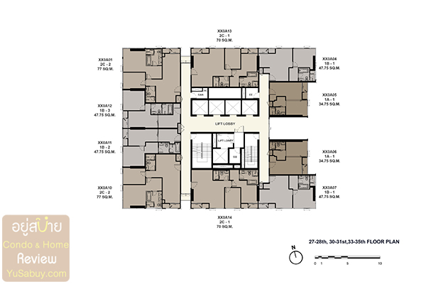 Floor Plan The Esse at Singha Complex ชั้น 27