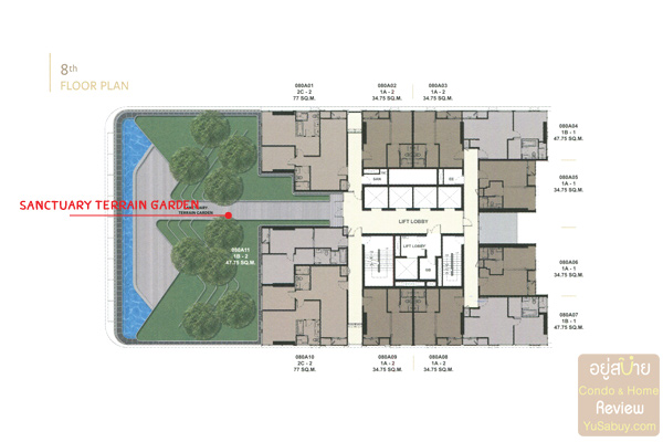 Floor Plan The Esse at Singha Complex ชั้น 8