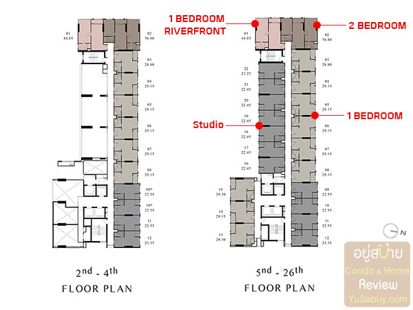 Floor Plan ชั้น 2-26 คอนโด Chapter One Shine Bang Po