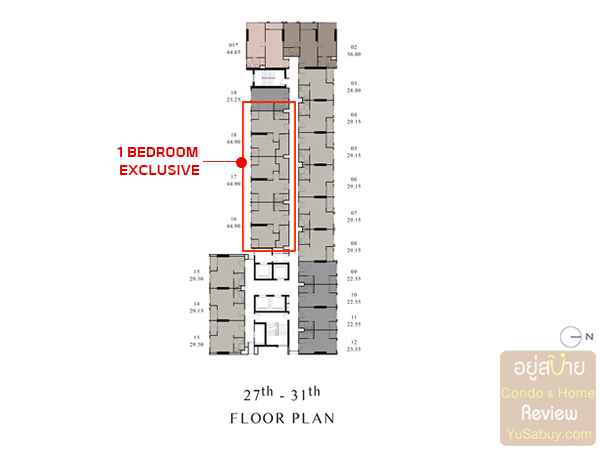 Floor Plan ชั้น 27-31 คอนโด Chapter One Shine Bang Po