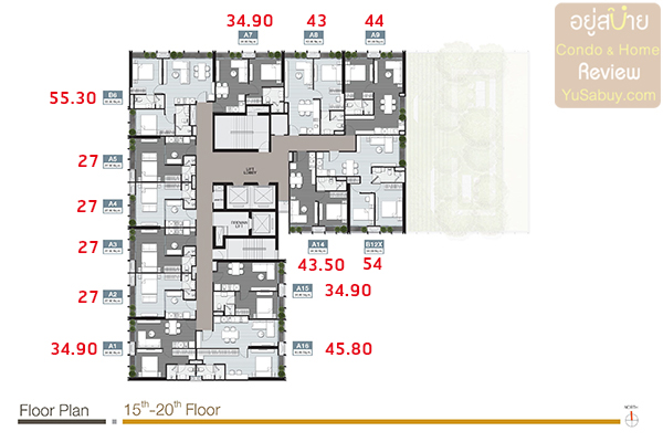 Floor Plan ชั้น 15-20 คอนโด Noble Around Sukhumvit 33