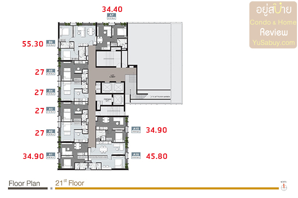 Floor Plan ชั้น 21 คอนโด Noble Around Sukhumvit 33