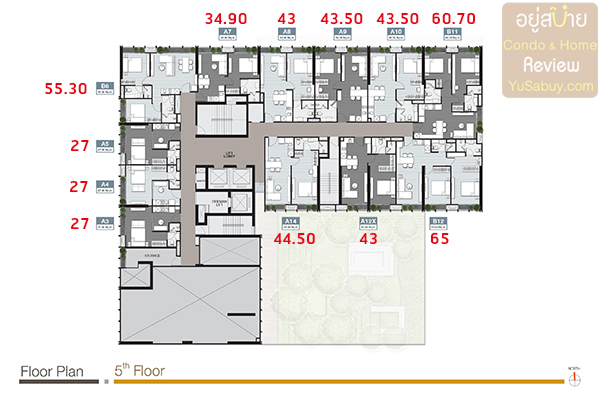 Floor Plan ชั้น 5 คอนโด Noble Around Sukhumvit 33