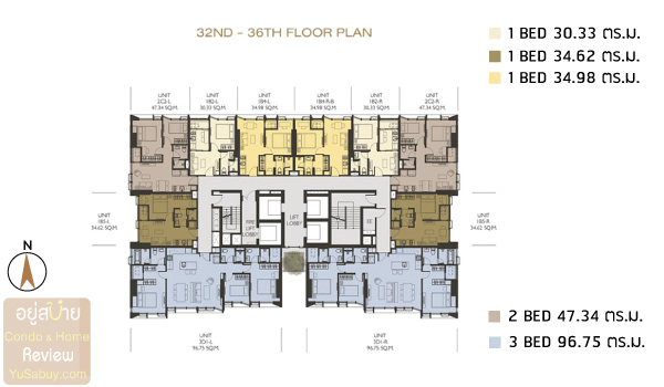 Wish Signature II Midtown Siam Floor-Plan-32-36