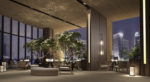 Outdoor Lounge and Barbeque Area คอนโด Banyan Tree Residences Riverside Bangkok