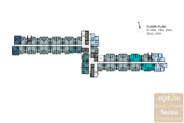 Floor Plan ชั้น16,18,20,22,24 คอนโด The Tree Rio Bang-Aor Station