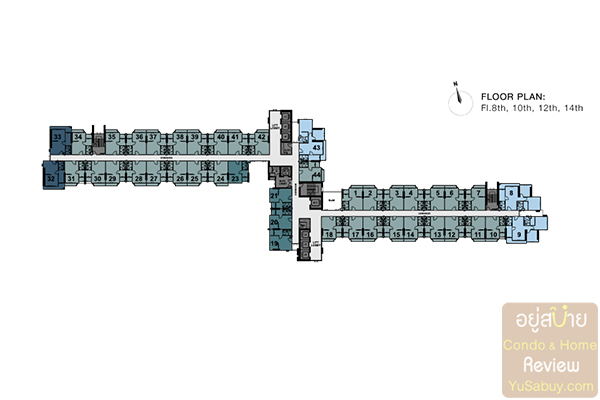 Floor Plan ชั้น 8,10,12,14 คอนโด The Tree Rio Bang-Aor Station