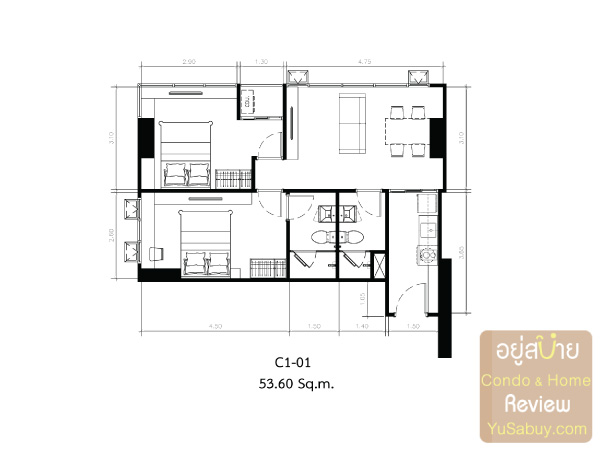 KnightsBridge-Collage-สุขุมวิท-107-Room-Plan-C1