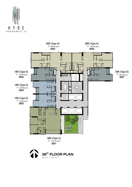 Floor Plan Hyde Sukhumvit 11 (ชั้นที่ 36)