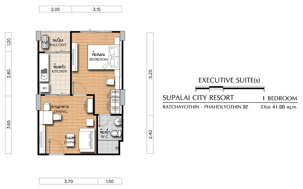 3 Executive Suite(s) 1 Bedroom ขนาด 41 ตร.ม.