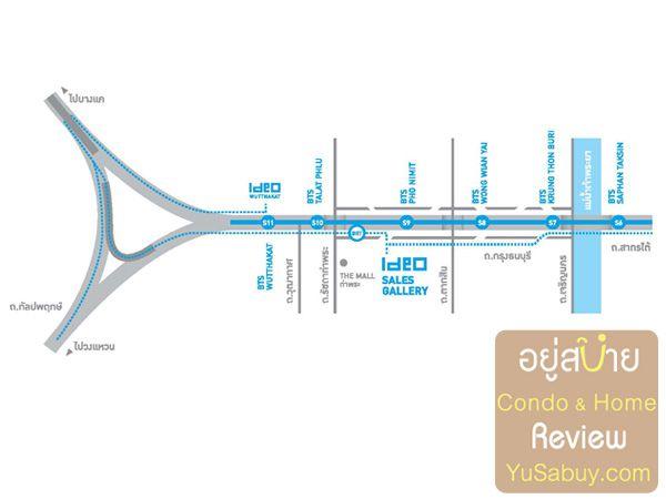แผนที่โครงการคอนโด IDEO วุฒากาศ