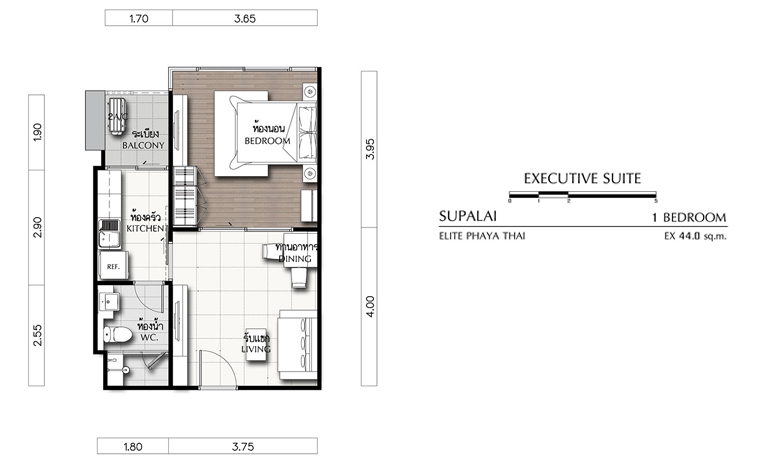 1 Bedroom Supalai Elite Phayathai (ภาพที่1)