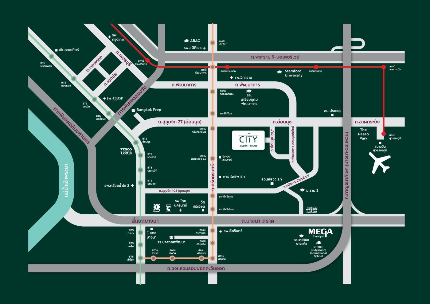 The City สุขุมวิท-อ่อนนุช แผนที่