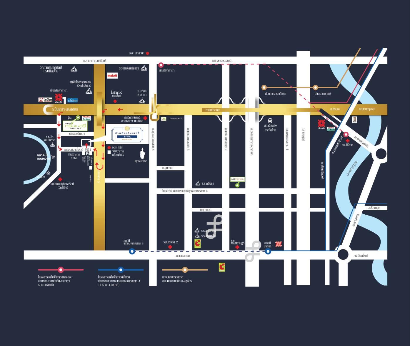 บ้านฟ้ากรีนเนอรี่ ทิวา ปิ่นเกล้า-สาย 5 แผนที่