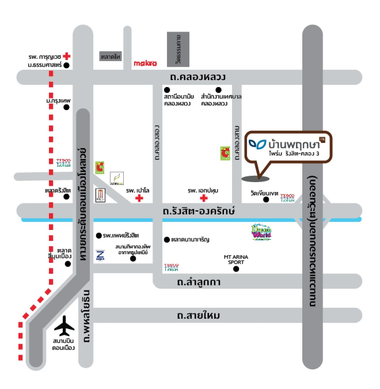 แผนที่ บ้านพฤกษา ไพร์ม รังสิต-คลอง 3