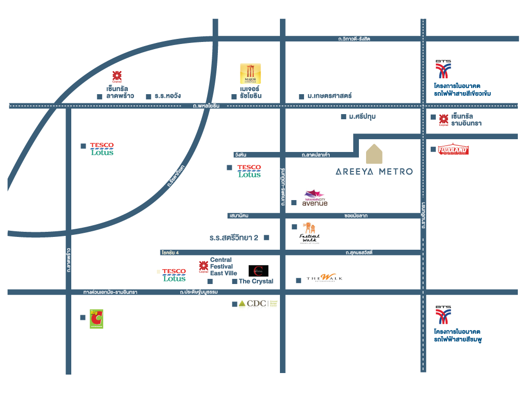 Areeya Metro เกษตร-นวมินทร์ แผนที่