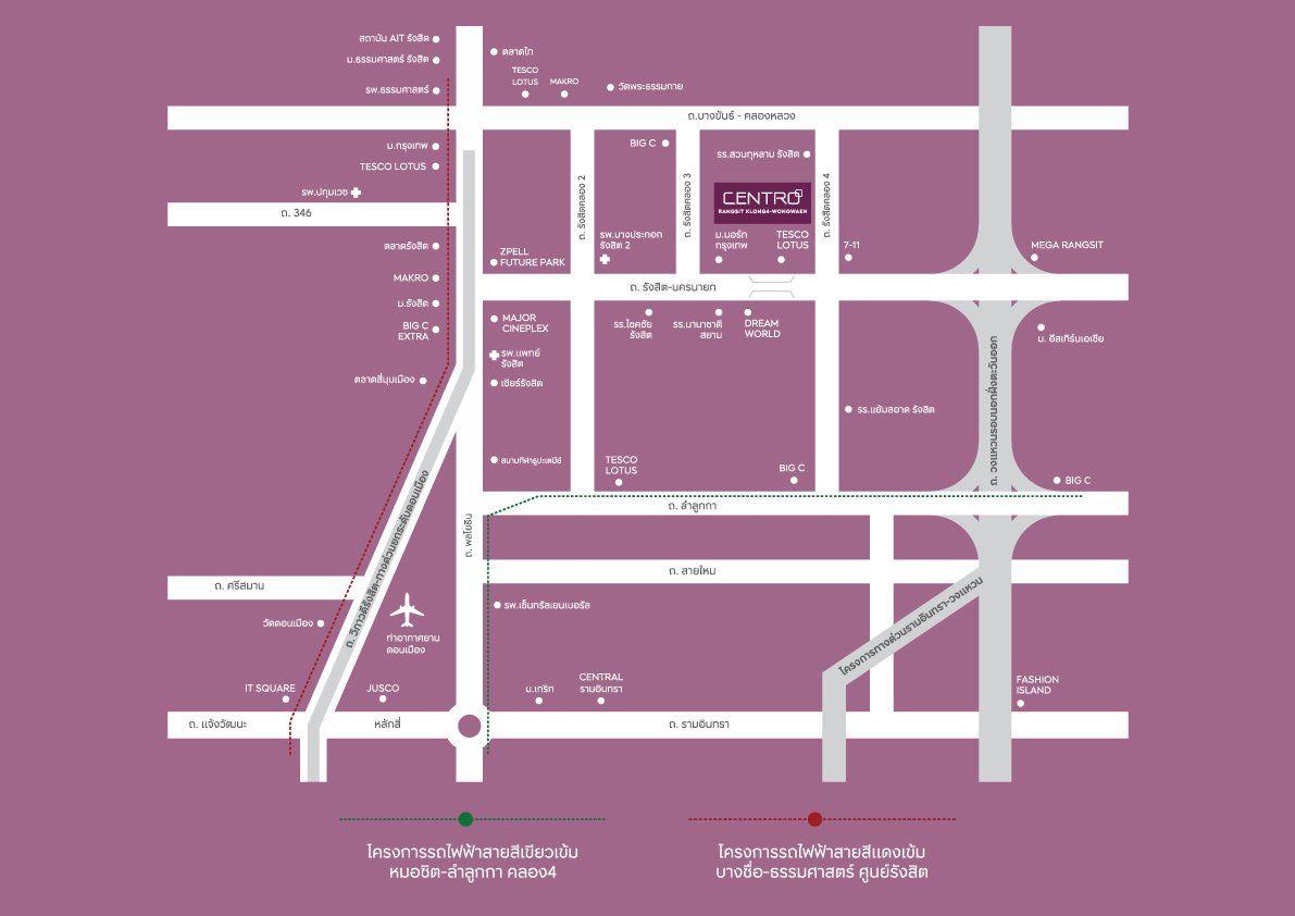 Centro_Rangsit_Klong4_Wongwaen map