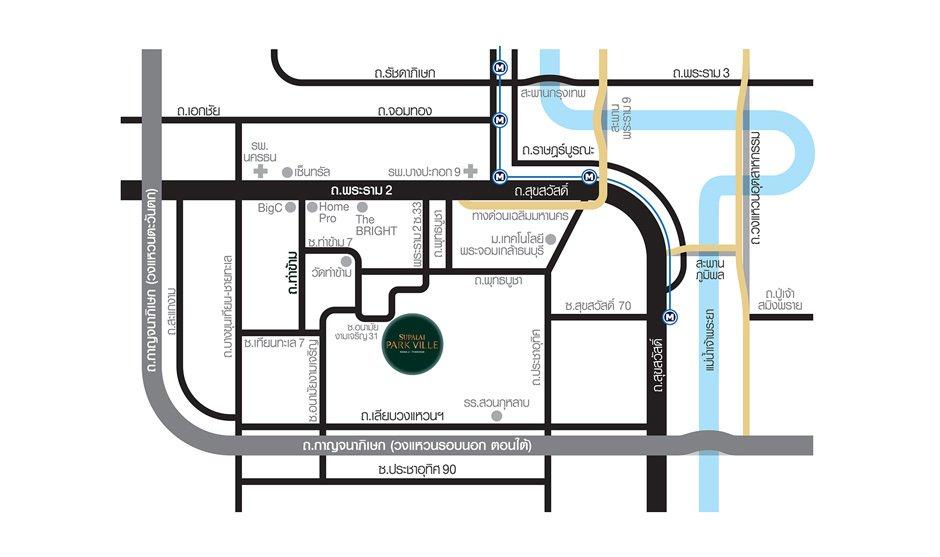 Supalai Park Ville พระราม2-ท่าข้าม แผนที่