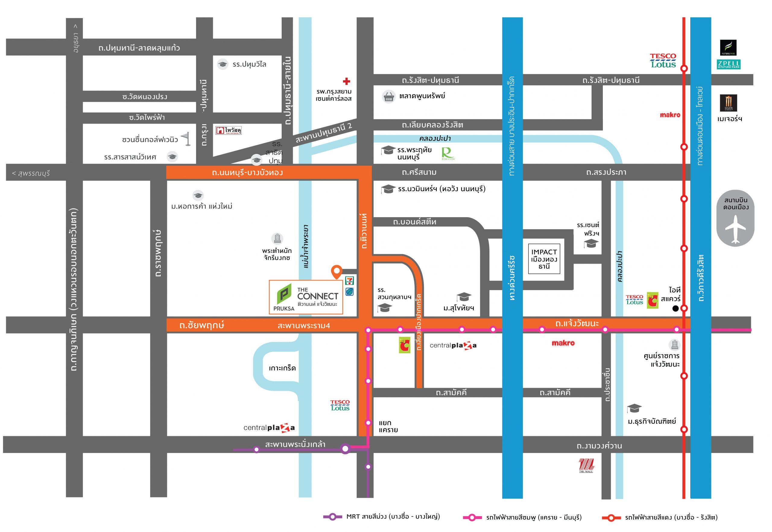 แผนที่ The Connect ติวานนท์-แจ้งวัฒนะ