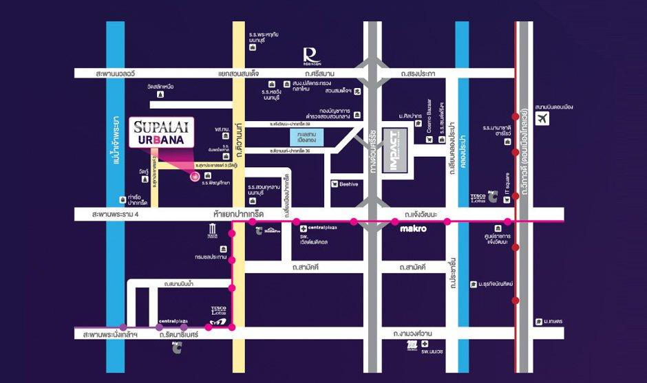 แผนที่ Supalai Urbana แจ้งวัฒนะ-ปากเกร็ด