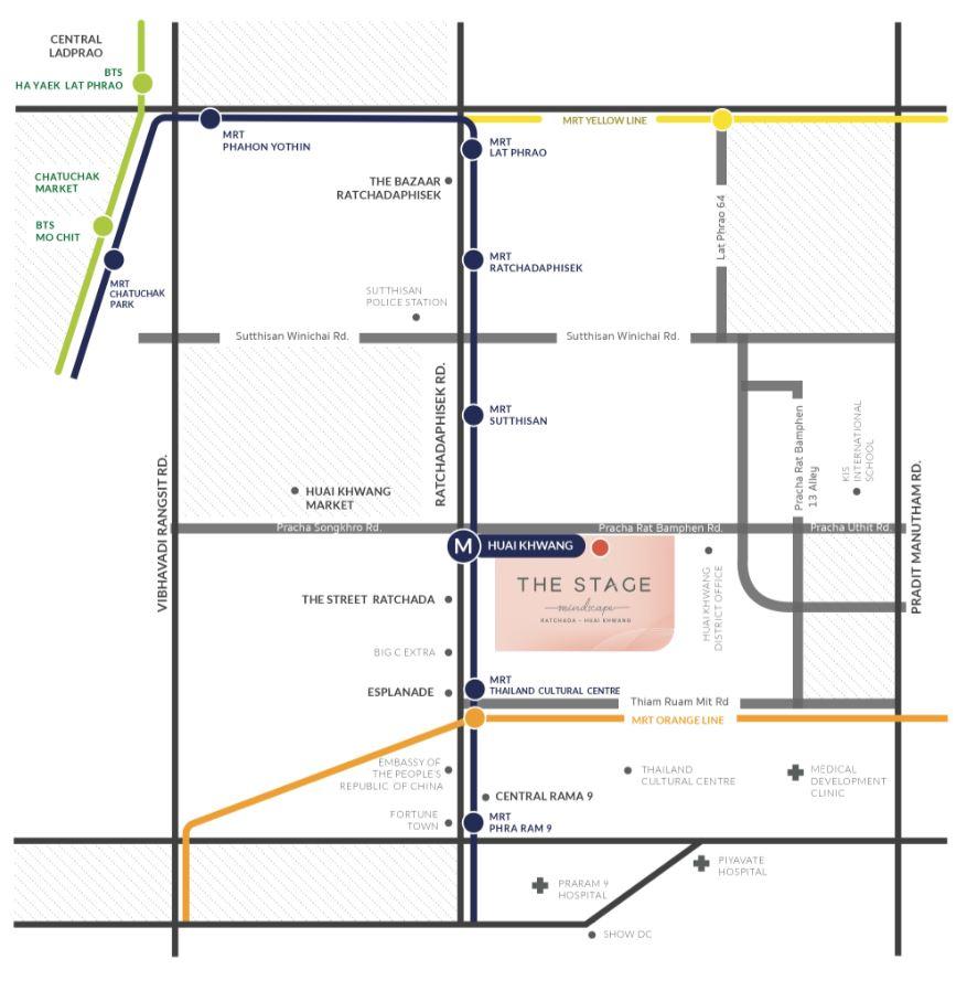The Stage Mindscape รัชดา-ห้วยขวาง map