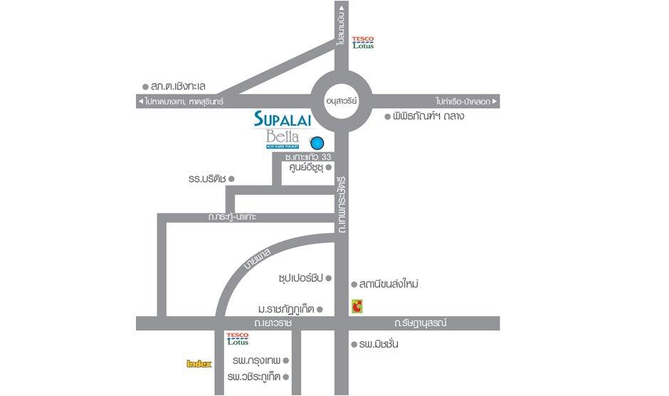 แผนที่ Supalai Bella เกาะแก้ว