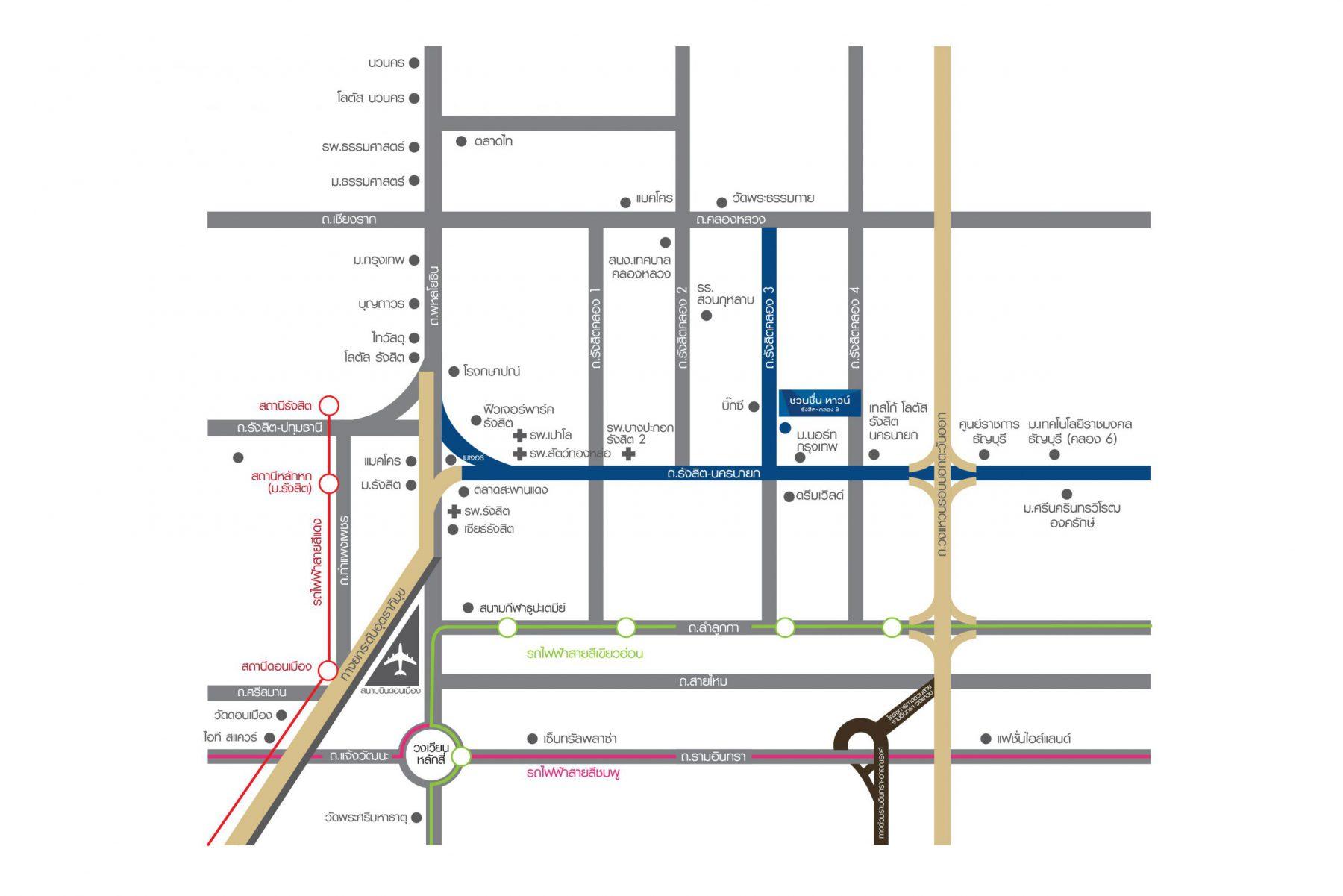แผนที่โครงการ ชวนชื่น ทาวน์ รังสิต-คลอง 3