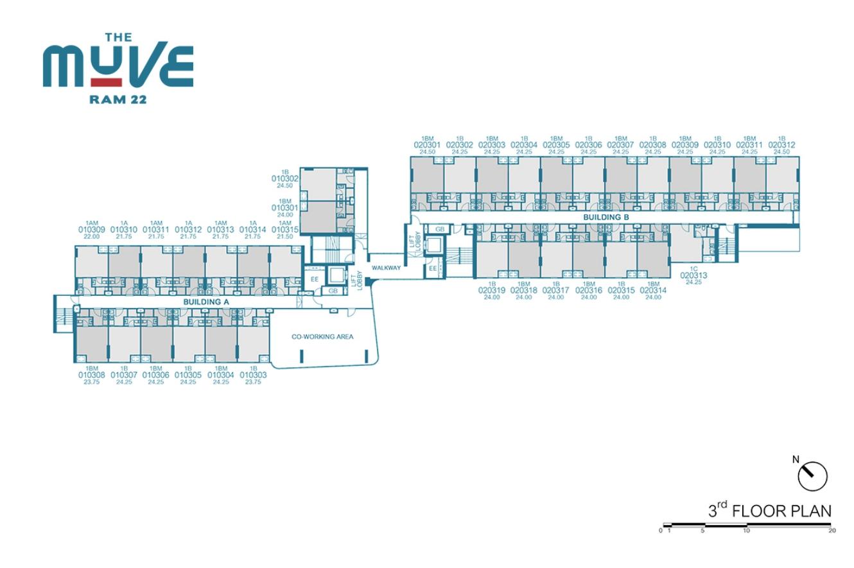 Floor Plan The Muve Ram 22 ชั้น 3