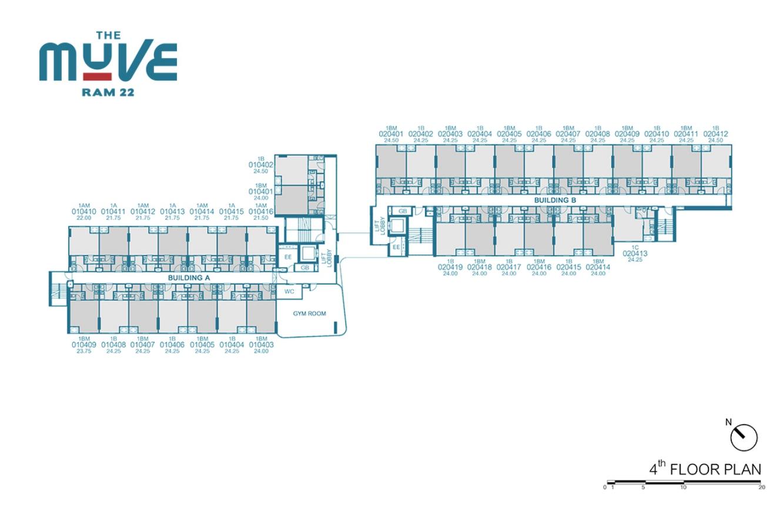 Floor Plan The Muve Ram 22 ชั้น 4