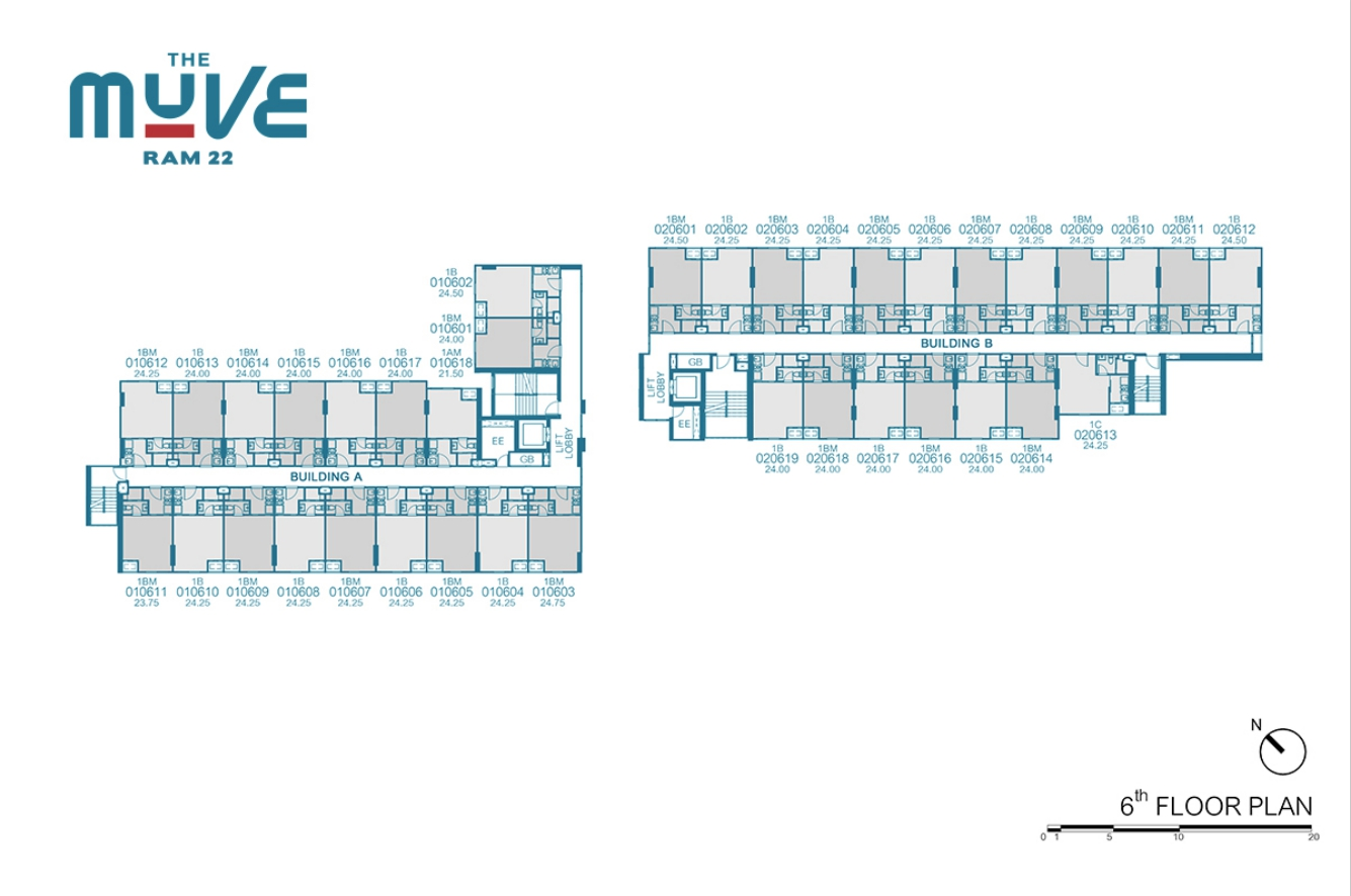 Floor Plan The Muve Ram 22 ชั้น 6