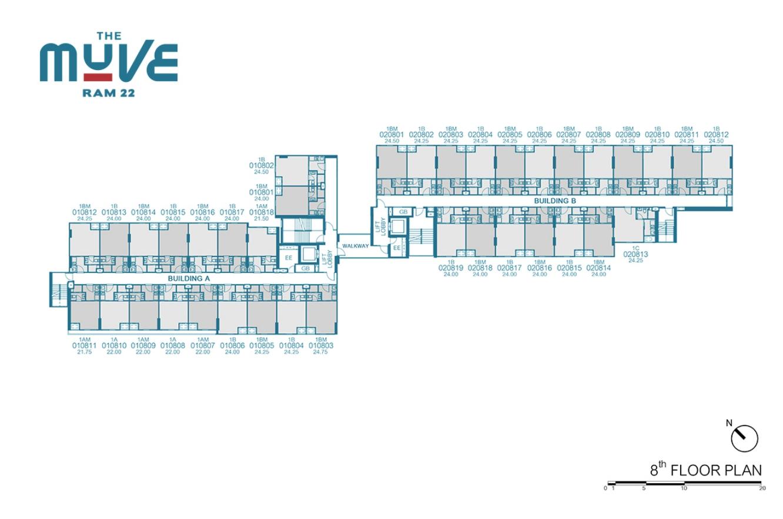 Floor Plan The Muve Ram 22 ชั้น 8
