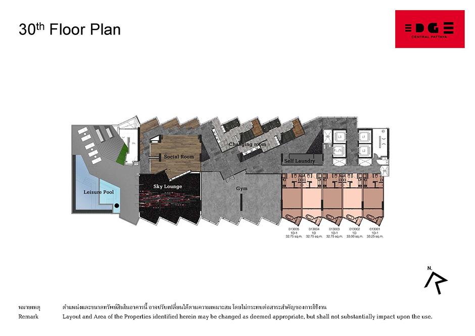 Floor Plan Edge Central Pattaya ชั้น 30