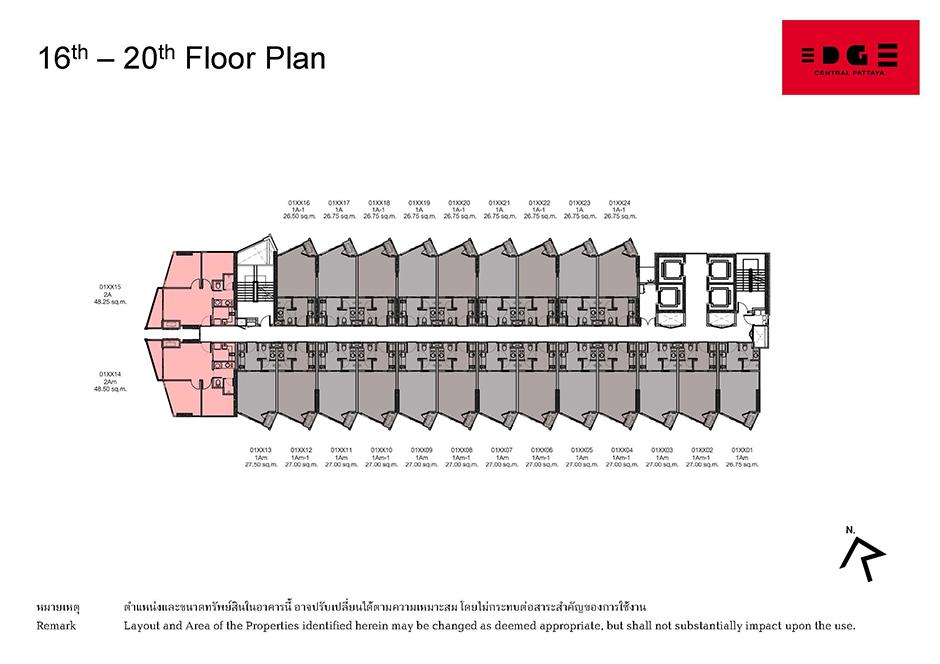 Floor Plan Edge Central Pattaya ชั้น 16-20