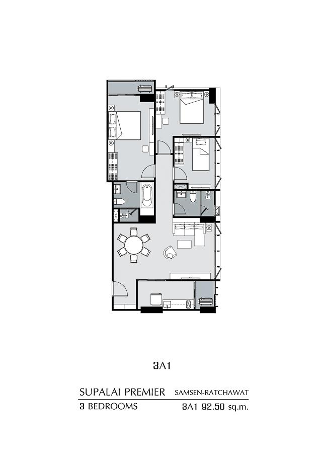 แปลนแบบ 1 ห้องนอน 3A1